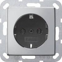 Розетка Gira System 55 2К+З, хром черный (0188605)