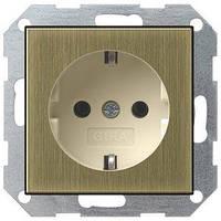 Розетка Gira System 55 2К+З, бронза кремовый (0188613)