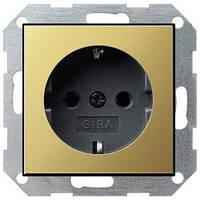 Розетка Gira System 55 2К+З, латунь черный (0188604)