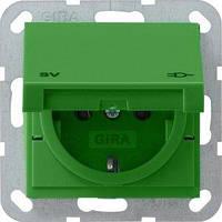 Розетка Gira System 55 2К+З, крышка, SV, зеленый (041502)