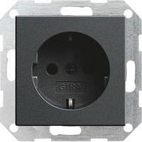 Розетка Gira System 55 2К+З, антрацит (018828)