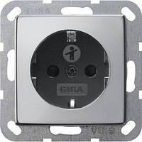 Розетка Gira System 55 2К+З, шторки, хром черный (0453605)