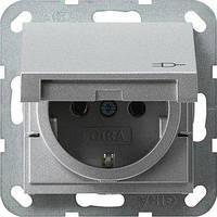 Розетка Gira System 55 2К+З, крышка, алюминий (045426)