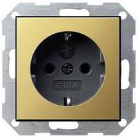 Розетка Gira System 55 2К+З, шторки, латунь черный (0453604)