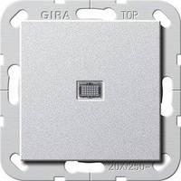 Вимикач Gira System 55 1 кл., 2 пол., 20А/250В, підсвічування, алюміній (283426)