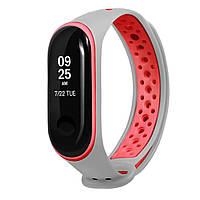 Ремешок Nike для Xiaomi Mi Band 3/Mi Band 4 Серый-красный