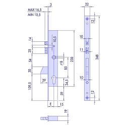 Cisa 1.16215.35.0 врізний електромеханічний замок з викидним ригелем