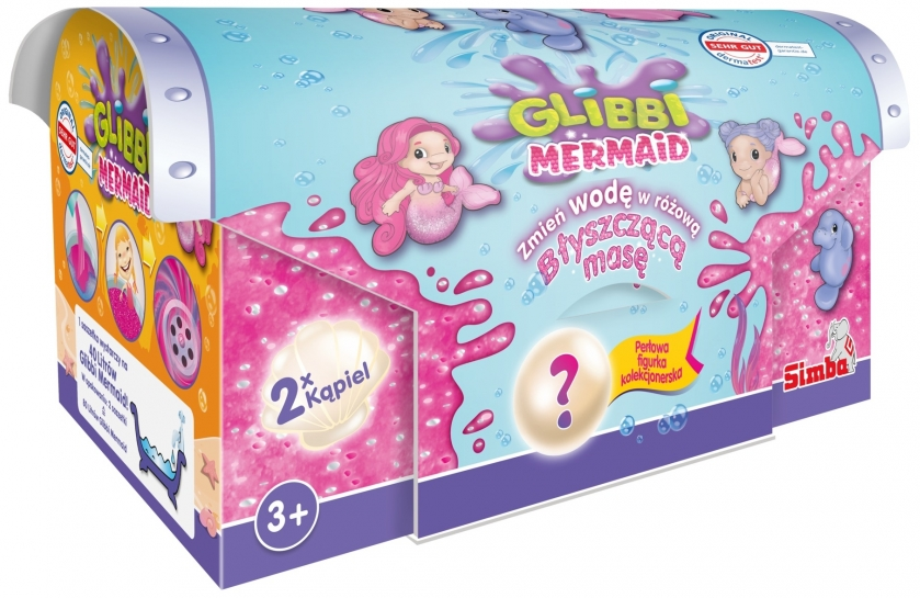 Желе для ванны Glibbi Mermaid Slime Glitter + фигурка сюрприз Simba 5953370