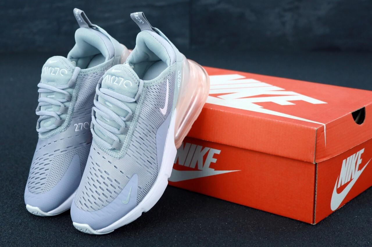 Женские кроссовки Nike Air Max 270 Grey. ТОП Реплика ААА класса.