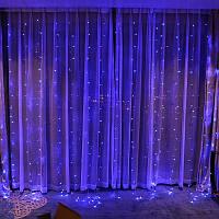 Гирлянда светодиодная Штора 160LED 1.5м х 1.5м  Световой занавес  Дождь Штора Синяя