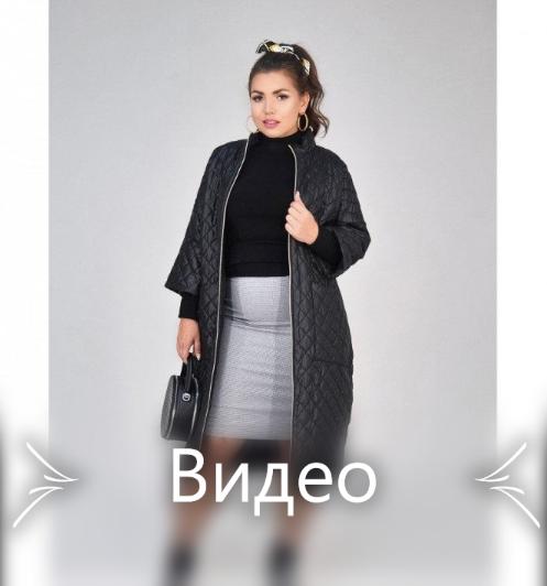 Пальто с рукавами 3/4 №1470-1-черный-ромб