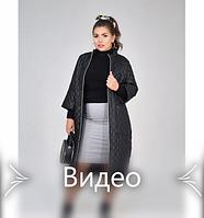 Пальто с рукавами 3/4 №1470-1-черный-ромб, фото 1