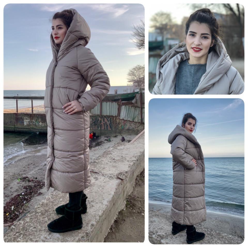 Пальто-пуховик ковдру зима OVERSIZE з капюшоном арт. 521 димчасто сірий беж