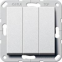 Вимикач Gira System 55 3 кл., прохідний, алюміній (283226)