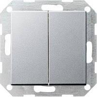 Выключатель Gira System 55 2 кл., проходной, алюминий (012826)