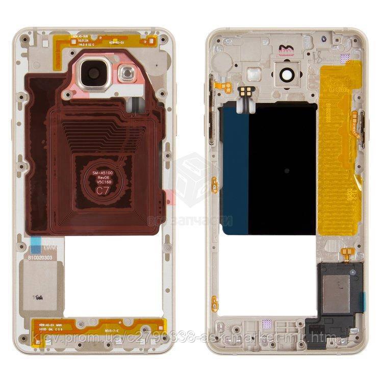 Средняя часть корпуса для Samsung Galaxy A5 2016 (A5100, A510FD) Original Gold 2Sim+1MMC