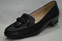 Туфли черные кожаные Erisses на низком  каблуке.Большие размеры.