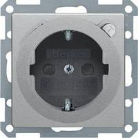 Розетка Berker Q.x 2P+E, УЗО, шторки, алюминий (47086084)
