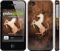 """Чехол на iPhone 4 Логотип Феррари на коже """"133c-15"""""""