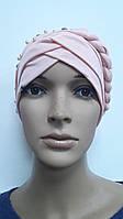 Яркая модная шапка чалма хиджаб цвет розовый с косой бусинами и камнями