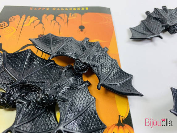 Декоративные летучие мыши набор для Хеллоуина 3 штуки в упаковке, фото 2