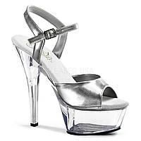 Серебристые босоножки для Pole Dance с прозрачной платформой, обувь Pleaser 40