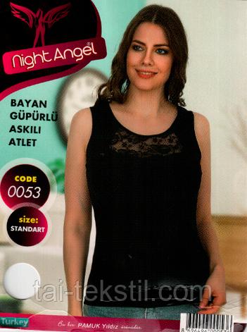 Night Angel женская майка отличного качества (Черный,белый цвет) № 0053, фото 2