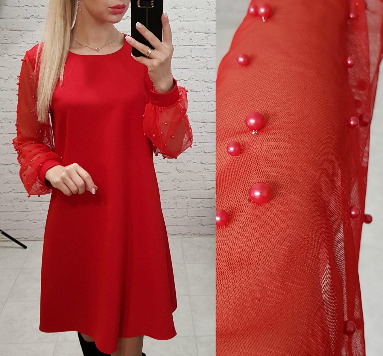 Платье с жемчугом арт. 144 свободного кроя красное