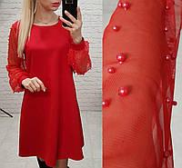 Платье с жемчугом арт. 144 свободного кроя красное, фото 1