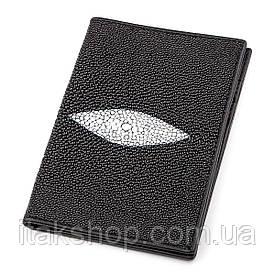 Обложка на паспорт STINGRAY LEATHER 18270 из натуральной кожи морского ската Черный, Черный