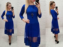 Сукня креп дайвінг +сітка. арт 146 яскраво-синій, електрик