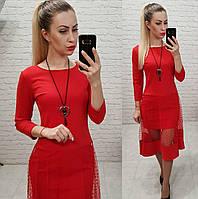 Сукня креп дайвінг +сітка. арт 146 червоний