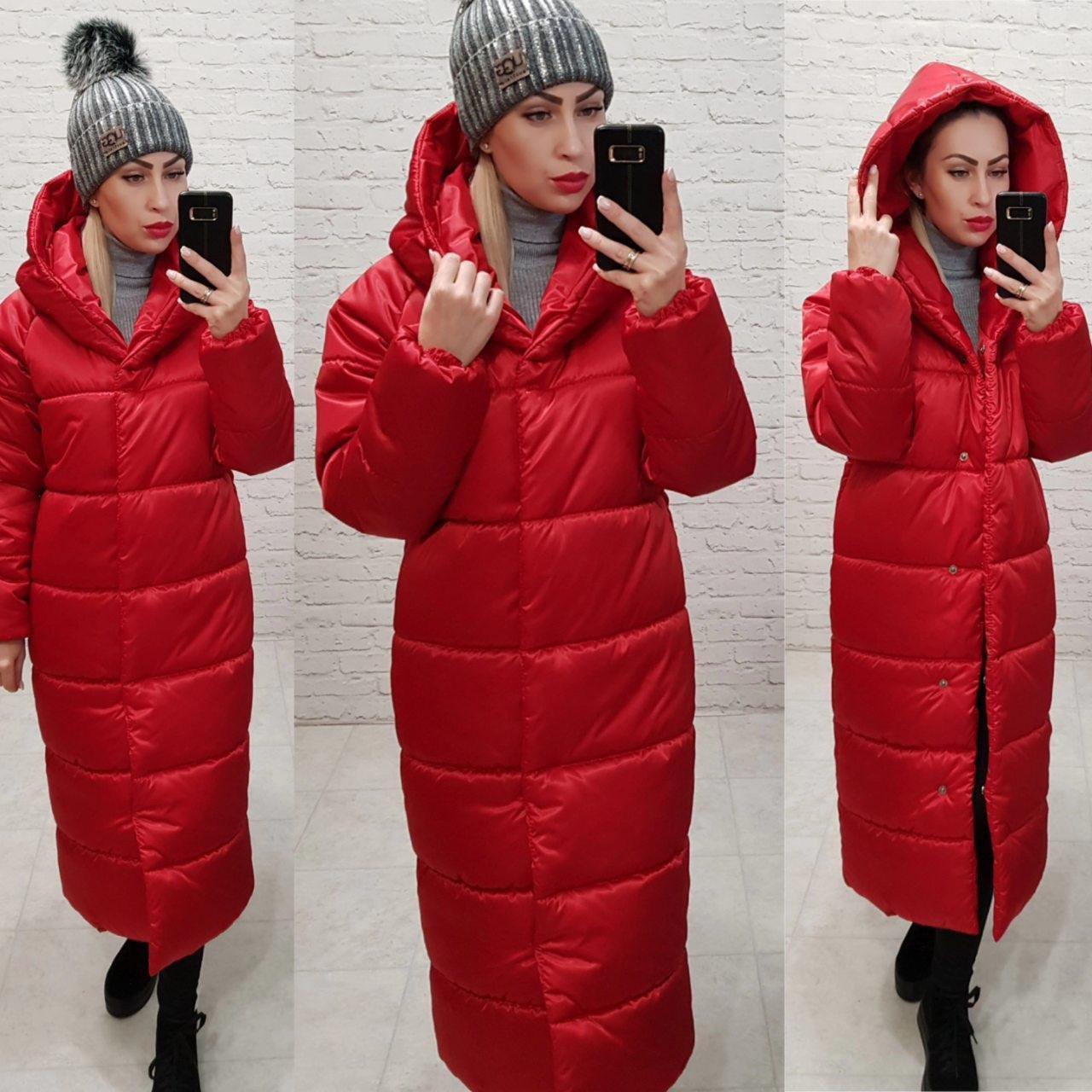 Пальто-пуховик ковдру зима OVERSIZE з капюшоном арт. 521 червоний