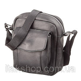 Мужская сумка Shvigel из винтажной кожи 11076 (Черная)