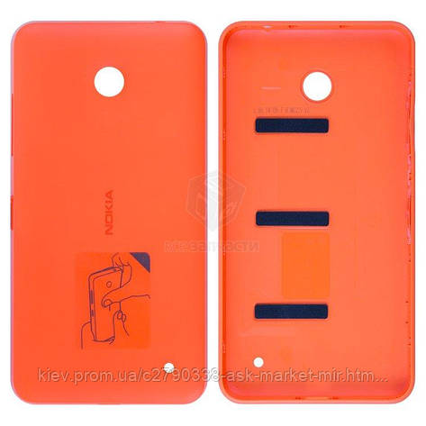 Задня панель корпусу (кришка акумулятора) для Nokia Lumia 630, Lumia 635 RM-974 Original Orange З бічними кнопками, фото 2