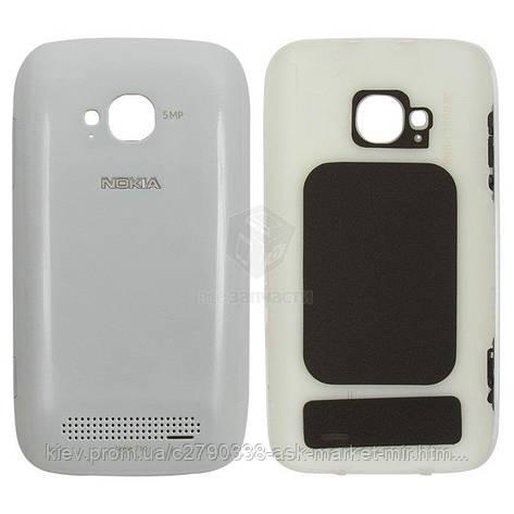 Задня панель корпусу (кришка акумулятора) для Nokia Lumia 710 Original White З бічними кнопками, фото 2