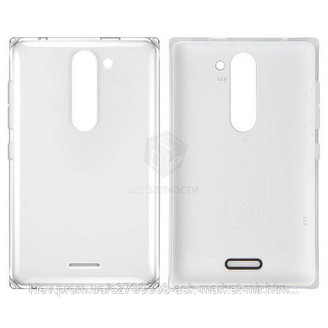 Задня панель корпусу (кришка акумулятора) для Nokia Asha 502 Original White З бічними кнопками, фото 2