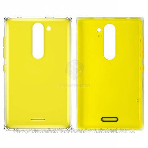 Задня панель корпусу (кришка акумулятора) для Nokia Asha 502 Original Yellow З бічними кнопками, фото 2