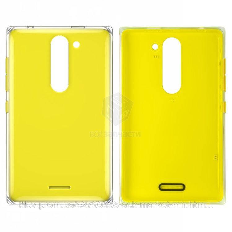 Задня панель корпусу (кришка акумулятора) для Nokia Asha 502 Original Yellow З бічними кнопками