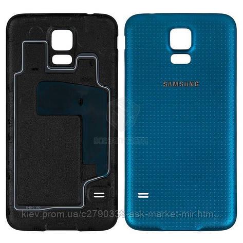 Задня панель корпусу (кришка акумулятора) для Samsung Galaxy S5 (G900A, G900F, G900H, G900I, G900T) Original Dark Blue, фото 2