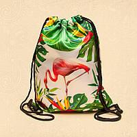 """Сумка для сменной обуви """"Фламинго с листьями"""""""
