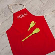 """Фартук кухонный с надписью """"#Mumlife"""" Красный"""