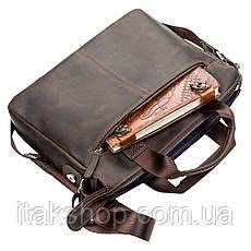 Мужская кожаная сумка Shvigel Коричневая, фото 3