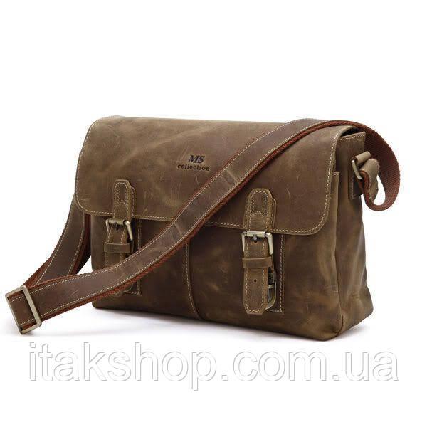 Мужская кожаная сумка Vintage через плечо Коричневая + Подарок Ключница