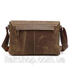 Мужская кожаная сумка Vintage через плечо Коричневая + Подарок Ключница, фото 2