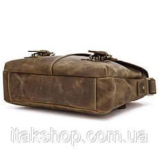 Мужская кожаная сумка Vintage через плечо Коричневая + Подарок Ключница, фото 3