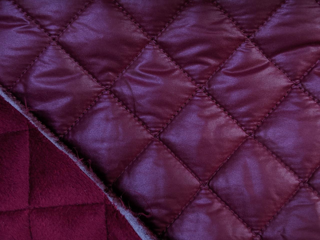 Плащевка с мехом квадраты 35 мм, бордовый