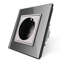 Розетка с заземлением Livolo, цвет серый, материал стекло (VL-C7C1EU-15), фото 1