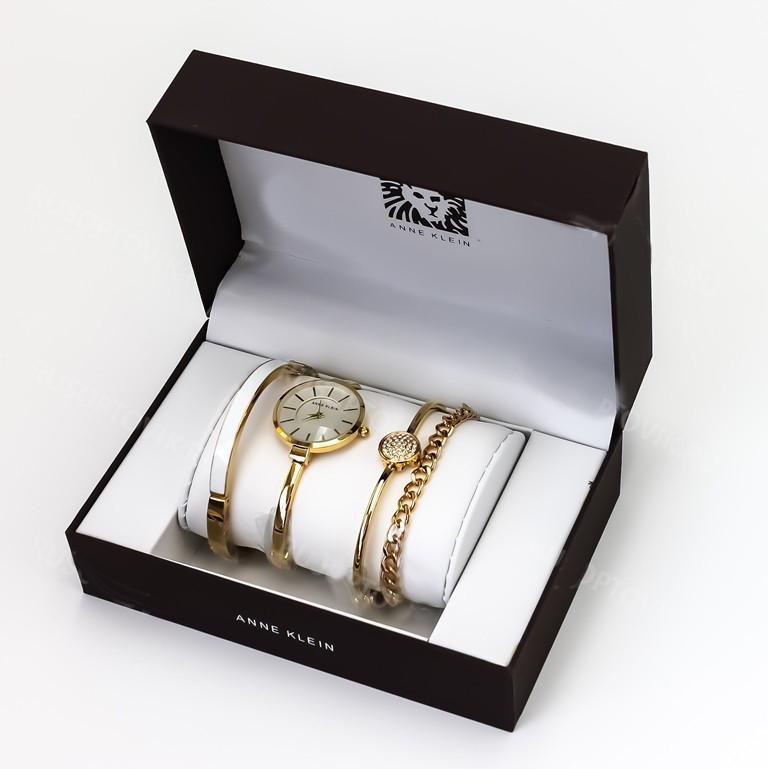 Подарочный набор для женщин наручные часы + 3 браслета Anne Klein GOLD в красивой упаковке!