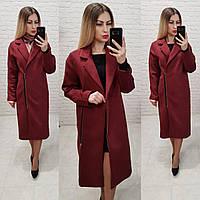 Распродажа!!! Пальто женское замшевое с подкладкой арт.M100 вишня